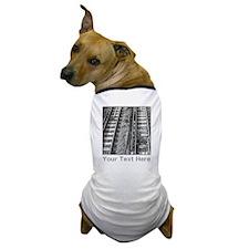 Railroad Tracks. Gray Text. Dog T-Shirt
