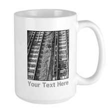 Railroad Tracks. Gray Text. Mug