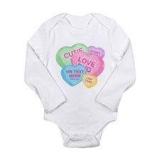 Fun Candy Hearts Personalized Long Sleeve Infant B