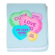 Fun Candy Hearts Personalized baby blanket