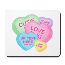 Fun Candy Hearts Personalized Mousepad