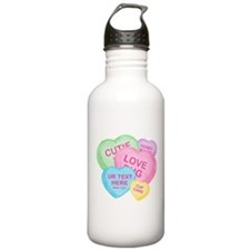 Fun Candy Hearts Personalized Water Bottle