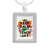 Keep Calm Teach Art Silver Portrait Necklace