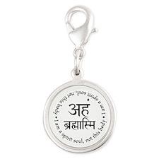 Aham Brahmasmi Silver Round Charm