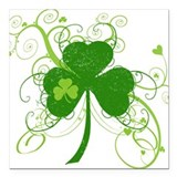 "fancyshamrocknew.png Square Car Magnet 3"" x 3"""