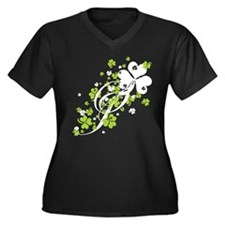 SHAMROCK-SWIRL_white Plus Size T-Shirt