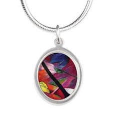 Deer by Franz Marc Silver Oval Necklace