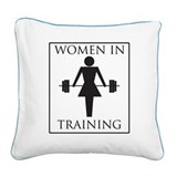 women-in-training-black.png Square Canvas Pillow