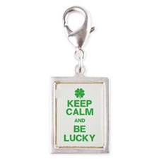 Keep Calm Be Lucky Silver Portrait Charm