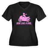 Ride Like A Girl Women's Plus Size V-Neck Dark T-S