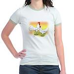 White Leghorn Chickens Jr. Ringer T-Shirt