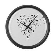 Flock of Birds Love Heart Large Wall Clock