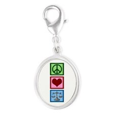 Peace Love Law Silver Oval Charm