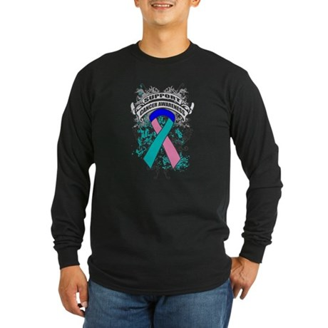 Support Thyroid Cancer Cause Long Sleeve Dark T-Sh