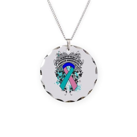 Support Thyroid Cancer Cause Necklace Circle Charm