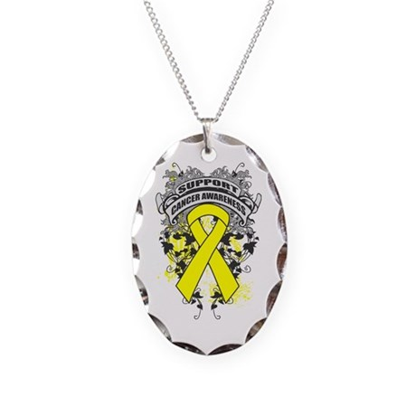 Support Testicular Cancer Cause Necklace Oval Char