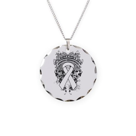 Support Lung Cancer Cause Necklace Circle Charm