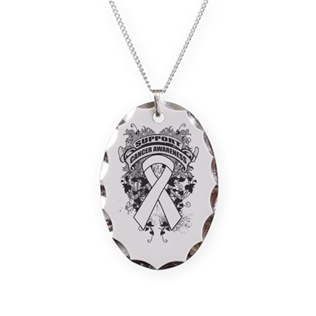 Support Lung Cancer Cause Necklace Oval Charm