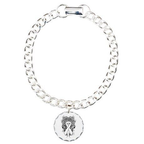 Support Lung Cancer Cause Charm Bracelet, One Char
