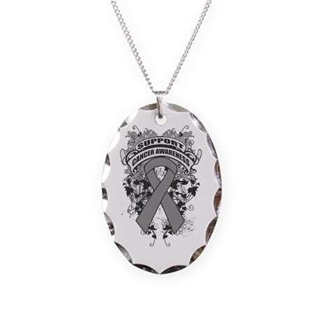 Support Brain Tumor Cause Necklace Oval Charm