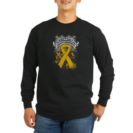 Support Appendix Cancer Cause Long Sleeve Dark T-S