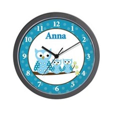 Blue Hoot Owls Wall Clock - Anna