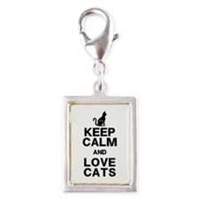 Keep Calm Love Cats Silver Portrait Charm