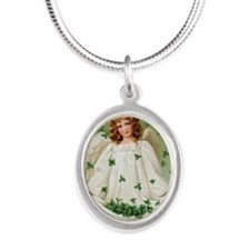 St. Patrick Angel Silver Oval Necklace