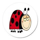 cute goofy cartoon grinning little ladybug Round C