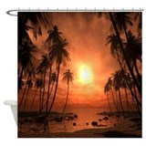 Tropical beach Shower Curtains