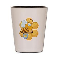 cute happy honey bee and honeycomb Shot Glass