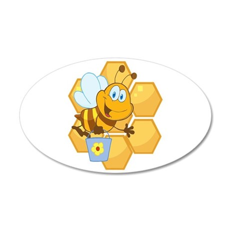 cute happy honey bee and honeycomb 20x12 Oval Wall