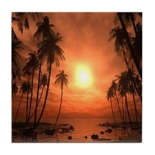 Colorful Beach Sunset Tile Coaster
