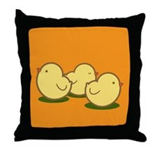 Three Chicks Throw Pillow