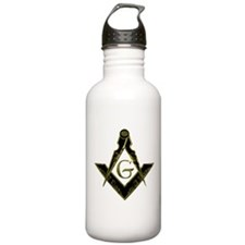 Metallic Square and Compasses Water Bottle