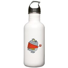 funny baseball bulldog cartoon character Water Bottle
