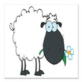 funny cartoon sheep with flower Square Car Magnet