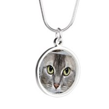 Kitty Close Up Silver Round Necklace