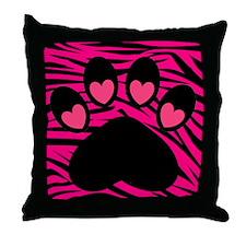 Paw Print on Hot Pink Zebra Throw Pillow
