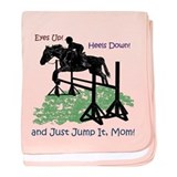 Fun Hunter/Jumper Equestrian Horse baby blanket