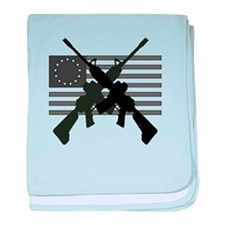 AR-15 and Revolutionary Flag baby blanket