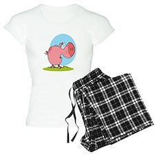 funny fat piggy pig looking scared cartoon Pajamas