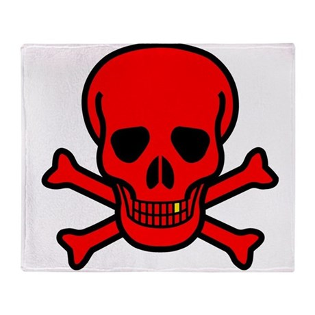 Red Skull And Crossbones Throw Blanket By Kevspirates