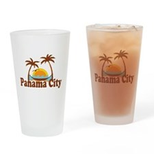 Panama City - Palm Tree Designs. Drinking Glass