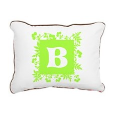 Plants and Letter B. Rectangular Canvas Pillow