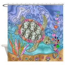 Sea Turtle Seahorse Art Shower Curtain