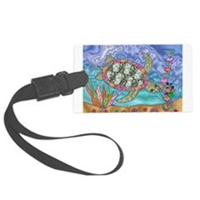Sea Turtle Sea Horse Art Luggage Tag