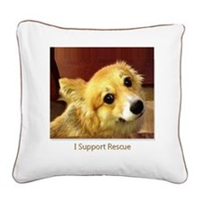 I Support Rescue Square Canvas Pillow