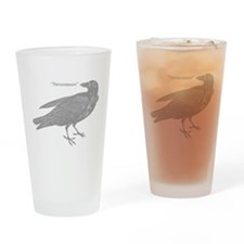 Grey Nevermore Raven Drinking Glass