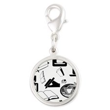 Books Coffee Silver Round Charm